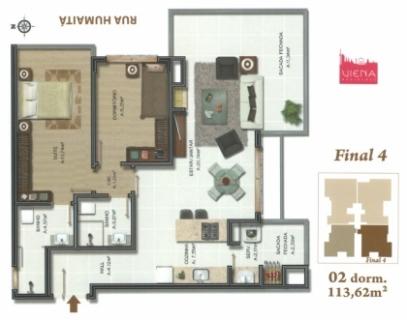 Apto. de  DOIS dormitórios (sendo um com SUÍTE), com uma GARAGEM, sala de estar e jantar com SACADA FECHADA, área de serviço SEPARADA com sacada fechada e CHURRASQUEIRA com opção para BIFEIRA, espera para ar condicionado tipo SPLIT e espera para LAREIRA (com dutos para lareira de alto rendimento), piso PORCELANATO nas áreas sociais, piso LAMINADO nas áreas íntimas, MEDIDORES INDIVIDUAIS de GÁS, ÁGUA e LUZ, reservatório pluvial, SALÃO DE FESTAS, laje com isolação acústica ampliada, área PRIVATIVA de 87,82m², área total de 114,24m², posição solar LESTE/SUL, e ELEVADOR.   Ref. apto. nº 904 e UM Box nº 31 (opções para compra de mais garagens)