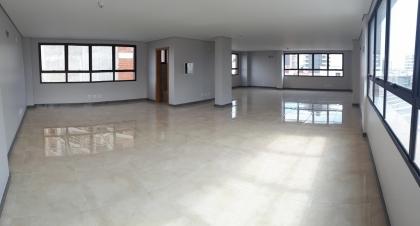 Sala superior com 115m² privativos. Possui 01 banheiro, copa/cozinha e um amplo terraço.