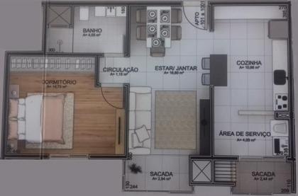 GIGANTE!!!  Apartamento de 1 dormitório GIGANTE... Sala, cozinha, área de serviço, banheiro. Uma sacada integrada e uma aberta na área de serviço.  EXCELENTE PARA INVESTIMENTO E MORADIA, DUAS QUADRAS DA ZONA MAIS CENTRAL DA CIDADE.  Maiores informações: Fone/WhatsApp: (54) 99126 3118
