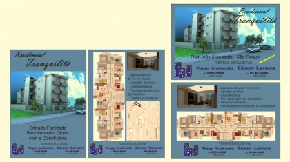 Apartamentos de 02 Dormitórios , sala /cozinha , ar. serviço , churrasqueira , 02 sacadas abertas  e garagem .  Entrada + financiamento em ate 36 meses  + mais financiamento bancario, imovel ja esta pronto .