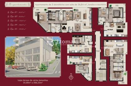 TOMASI Imóveis vende, Apartamento de 2 dormitórios sendo uma suíte com sacada aberta, cozinha, sala de jantar e estar com sacada fechada e churrasqueira, área de serviço e banheiro social em ótima localização.