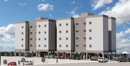 Apartamento de 42m² com dois dormitórios, sala estar/jantar, cozinha/área de serviço, banheiro e box de estacionamento. Financiamento pelo Programa Minha Casa Minha Vida